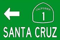 米国ハイウェイ 1 サンタクルーズ ルート 道路標識 - ドット - カリフォルニア メタル ティンサイン 12x8 インチ ホーム キッチン ベッドルーム バー サイン デコレーション メタルプレートブリキ 看板 2枚セットアンティークレトロ