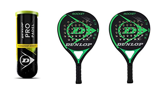 Dunlop Rocket Green - Juego de raquetas de pádel y 3 pelotas Dunlop Pro