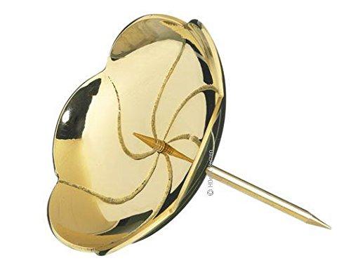 Kranzteller 4, Kerzenstecker Lotos in poliertem Gold, Durchmesser 8 cm mit abschraubaren Dorn für Gestecke, Adventskranz, Adventskranzkerzen