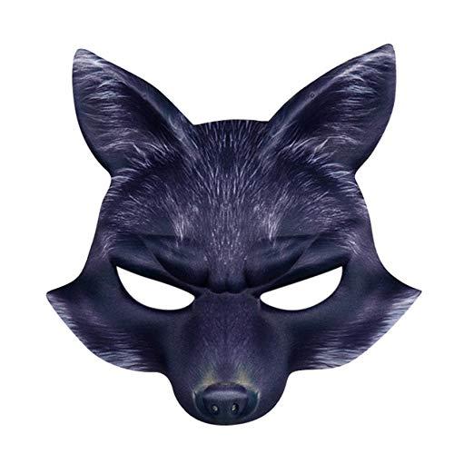 Halloween Half Face FüchseMaske, MOIKA Venezianische Maske Maskerade Maske Valentinstag Party Mardi Gras Unisex Schurken Kostüm Schwarz Einheitsgröße