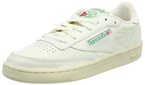 Reebok Damen Club C 85 Vintage Sneaker, Grau (Chalk/Glen Green/Paperwhite/Excellent Red), 39 EU