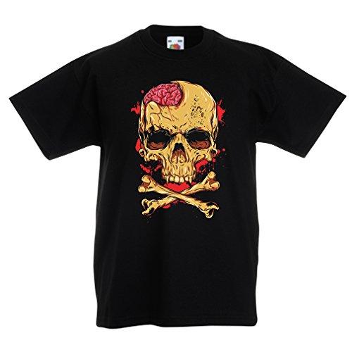 lepni.me Camisas para niños La Calavera (7-8 Years Negro Multicolor)