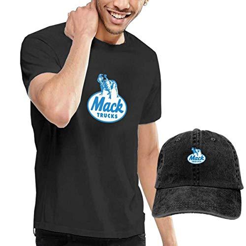 AOCCK Blue Mack Trucks Men's Short Sleeve T Shirt & Washed Adjustable Baseball Cap Hat