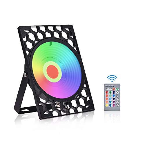 Viugreum Foco RGB Led 100w, Nido de abeja RGB Led Foco de Colores IP67, Control Remoto Inalámbrico con 16 Colores y 4 Modos Proyector LED, RGB Floodlight Función de Memoria para Jardín,Bodas,Patio.