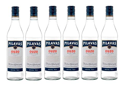 6x 0,7l Ouzo Pilavas Nektar 38% Vol. | + 1 x 20ml Olivenöl