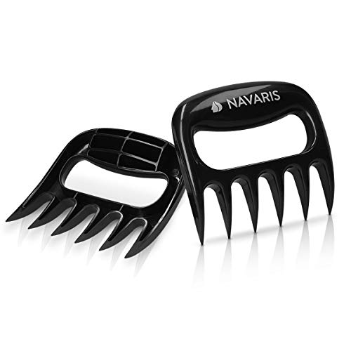 Navaris Artigli Carne Barbecue Professionali - Set 2X Forcella in Plastica per Pulled Pork Carni Arrosto e Grill - Forcelle BBQ - Meat Claws - Nero