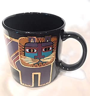 Laurel Burch Lion Cat Black Purple Gold Tribal Ceramic Mug
