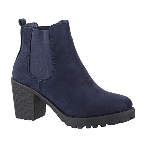 Elara Damen Stiefeletten Chelsea Boots Plateau Chunkyrayan K-KA523-1sl Navy-37