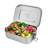 Stainless Steel Lunch Box Large 1400ML Metal Bento Lunch Container 3 compartment Fixed Divided Leakproof Food Containers for Kids Adults with Secure Locks Stainless Snack Container-Stainless Lid