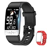 Fitness Tracker,Smart Watch with Body Temperature Thermometer Heart Rate Blood Oxygen Blood Pressure Monitor,Pedometer Watch with Sleep Monitor, Step Tracker for Kids Women Men (C-Black+Red)