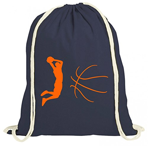 Shirt Happenz Basketball Premium Turnbeutel Basketball- Hobby Leidenschaft Gymbag, Farbe:Navyblau (Gymbeutel);Größe:37cm x 46 cm