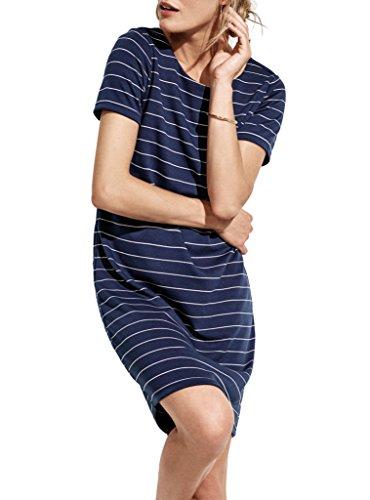 VILA CLOTHES Damen VITINNY NEW S/S DRESS - NOOS Kleid, Blau (Total Eclipse Stripes: Snow White Version 4), 36 (Herstellergröße: S)