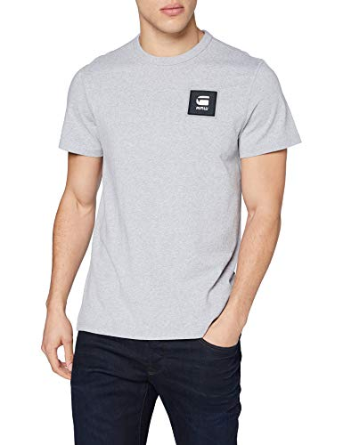 G-STAR RAW Badge Logo+ Camiseta, para Hombre, Gris (Grey Htr C336-906), XS