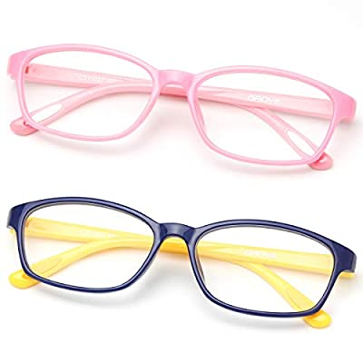 Gaoye 2 Pack Kids Blue Light Blocking Glasses, Cute Computer Gaming Eye-Glasses Girls Boys Anti UV Ray Lens Square Fake Frames (Pink & Navy Blue+Yellow) by