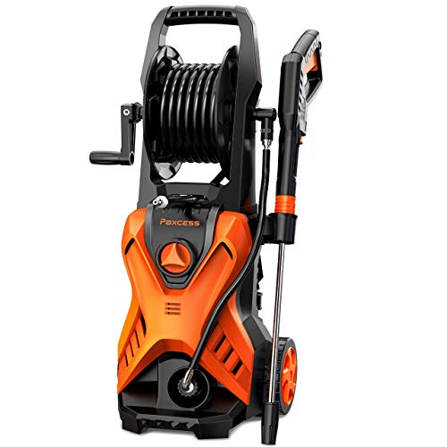 Electric Power Pressure Washer,[2020 Version ] PAXCESS 2800 PSI Car Wash Machine With Hose Reel and Adjustable Nozzle Fit for Cleaning Homes/Buildings/Cars/Decks/ Patios (Orange)