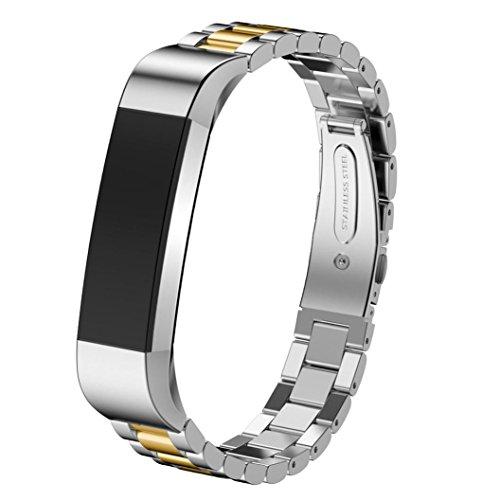 HappyTop Cinturino di orologio da polso in acciaio inox 14mm per Smart Watch Fitbit Alta HR, Uomo, Silver+Gold, S