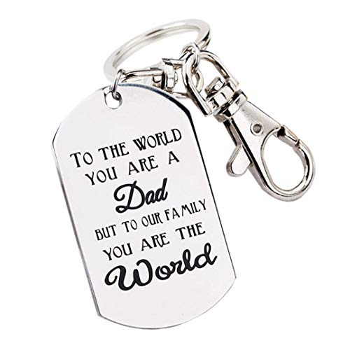 Underleaf Keychain, to The World You are A Dad, But to Our Family You are The World Key Ring Jewelry Present for Men Dad Birthday Gift for Daddy from Daughter Son