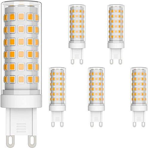 Klighten 6er Pack 9W G9 LED Lampe 700 Lumen, Kein Flackern und 3000K Warmweiß G9 LED Leuchtmittel Ersatz 70W G9 Halogenlampe, 360° Abstrahlwinkel, Nicht Dimmbar