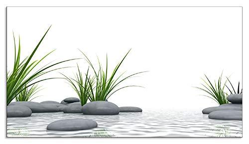 Artland Spritzschutz Küche aus Alu für Herd Spüle 50x90 cm Küchenrückwand mit Motiv Natur Zen Wellness Spa Yoga Asien Gräser Stein Weiß T6CD