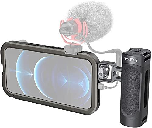 SMALLRIG Jaula de vídeo para iPhone 12 Pro MAX, Soporte estabilizador de vídeo para teléfono móvil con Tornillo de 1/4 Pulgadas, 2 interfaces de Zapata fría para micrófono y lámpara de vídeo LED