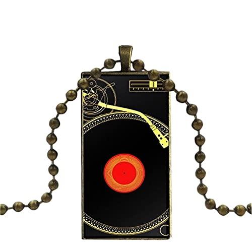 Soode Für Unisex Geschenk Glas Cabochon Schmuck Bronze Farbe mit langem Anhänger Halsreif Rechteck Halskette Classic Technics Plattenspieler Dj