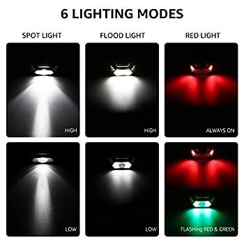 LE Lampe Frontale à Piles (non inclus), C500 Torche Frontale LED 1300lux Concentrée Diffusée 6 Modes avec Lumière Rouge, IPX4 Étanche Ultra-Léger pour Course, Randonnée, Pêche