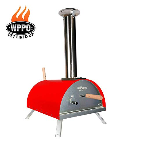 WPPO Le Peppe Multi-Fuel Deluxe Stainless Steel Outdoor Pizza Oven in RED, Wood Fired Portable Oven and BBQ, Built-In Thermometer + FREE Pizza Peel