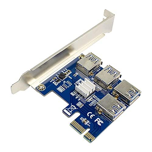 PCI-E 1x hasta 16x Tarjeta elevadora PCI-Express de 1 a 4 ranuras PCIe USB3.0, adaptador multiplicador para minería BTC Bitcoin (tarjeta azul)
