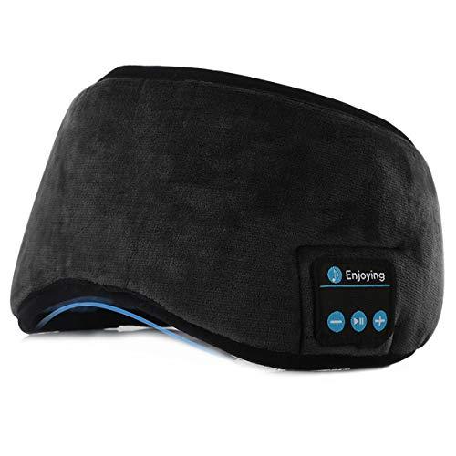 Sleep Headphones Wireless Bluetooth Sleeping Eye Mask Sports Headband with Thin Stereo Speakers Adjustable Music Headset for Air Travel Sleeping Jogging Yoga Meditation (Black)