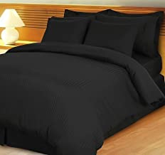 1200 Thread Count Three (3) Piece California King Size Stripe Duvet Cover Set, 100% Egyptian Cotton, Premium Hotel Quality California King Black B00Y2004OG