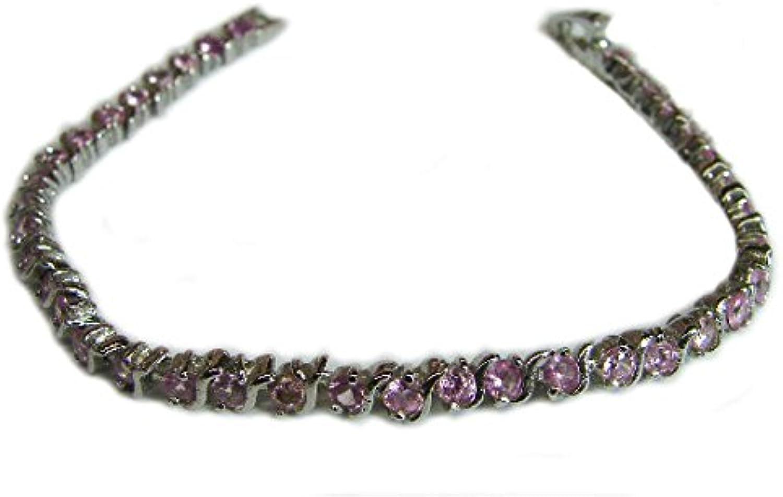 Sterling Bracelet w  Pink Crystals