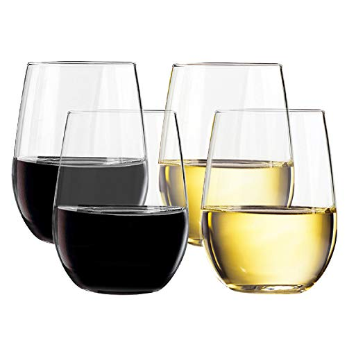 TaZa Unbreakable Plastic Wine Glasses stemless: Elegant Shatterproof Tritan Outdoor wine glasses | Dishwasher-Safe | For Pool Parties | 16 Ounce | Set of 4