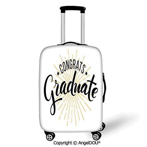 YOLIYANA Luggage Suitcase Elastic Protective Covers Graduation Decor High School University Academy Commendation Honors Degree Bachelor Black White Orange for men women travel business.