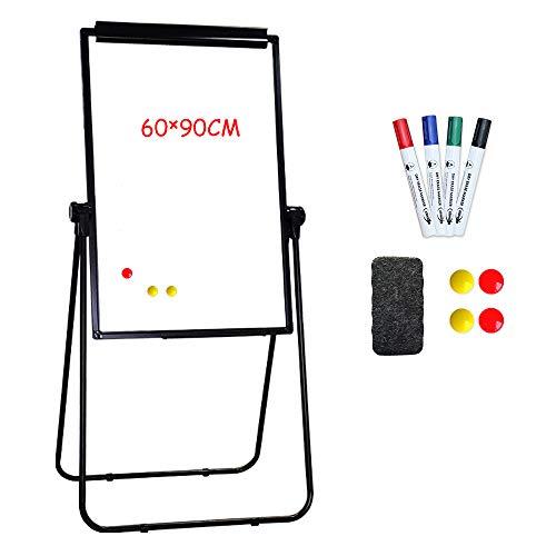 XIWODE U-Stand Whiteboard - mobiles Whiteboard - magnetisch und schreibbar - kleine Whiteboard 90cm x 60cm - mit Schwarzem Rhamen