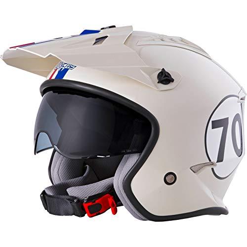 O'NEAL | Casco de Motocicleta | Motocicleta de Enduro | Estándares de Seguridad ECE 22.05, Casco ABS, Visera integrada | Casco Volt Herbie | Adultos | Blanco Rojo Azul | Talla S