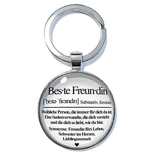 Definition Beste Freundin ABOUKI Geschenk-Idee für Sie Mädchen Frau Freundinnen handgefertigter Glücksbringer Taschenanhänger Schlüsselanhänger 30mm