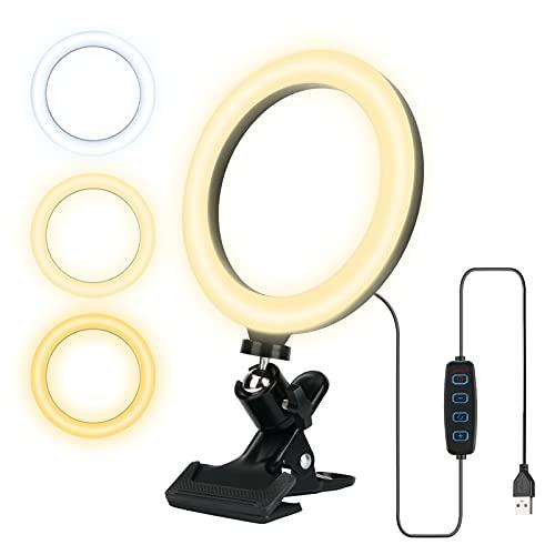 Anillo de luz, anillo de luz LED Luckits de 6 pulgadas con abrazadera, kit de iluminación LED para video con anillo de luz para computadora portátil luz para selfies, 3 colores regulables y 10 niveles