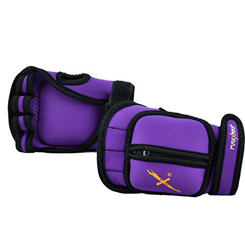 MaxxMMA Adjustable Weighted Gloves, 2 lb. Set - Removable Weight (2 x 0.5 lb. Each Glove) for Sculpting MMA Kickboxing Cardio Aerobics Hand Speed Coordination Shoulder Strength (Purple)