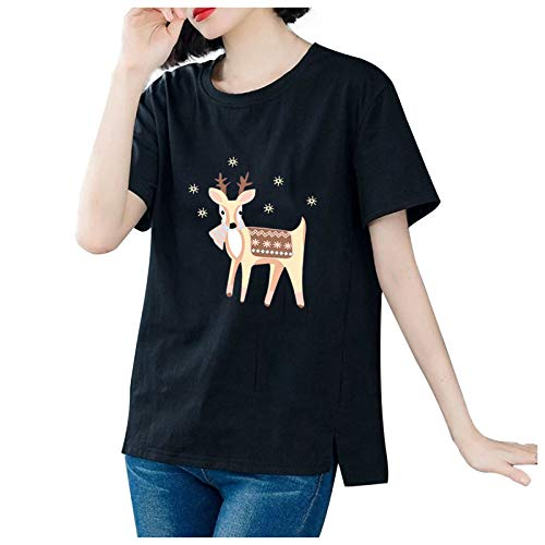 New Oversized Blouse, Christmas Print Casual Short-Sleeved T-Shirt Tops With O-Necks For Women(Black,6XL)