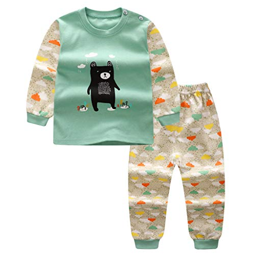 Allence Neugeborenes Baby Junge Mädchen Cartoon T-Shirt Tops + Pants Schlafanzug Nachtwäsche Outfits Set
