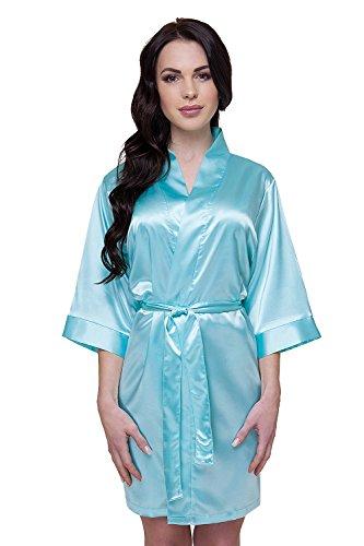 VA-Fashion Braut Hochzeit Damen Morgenmantel Kimono Satin kurz Brautteam Bedruckt Druck