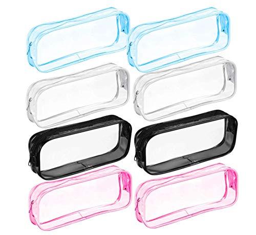 HJQL Estuche Transparente para Lápices, Bolsa De PVC De Gran Capacidad con Cremallera, para Almacenamiento De Cosméticos Y Papelería (4 Colores, Paquete De 8)