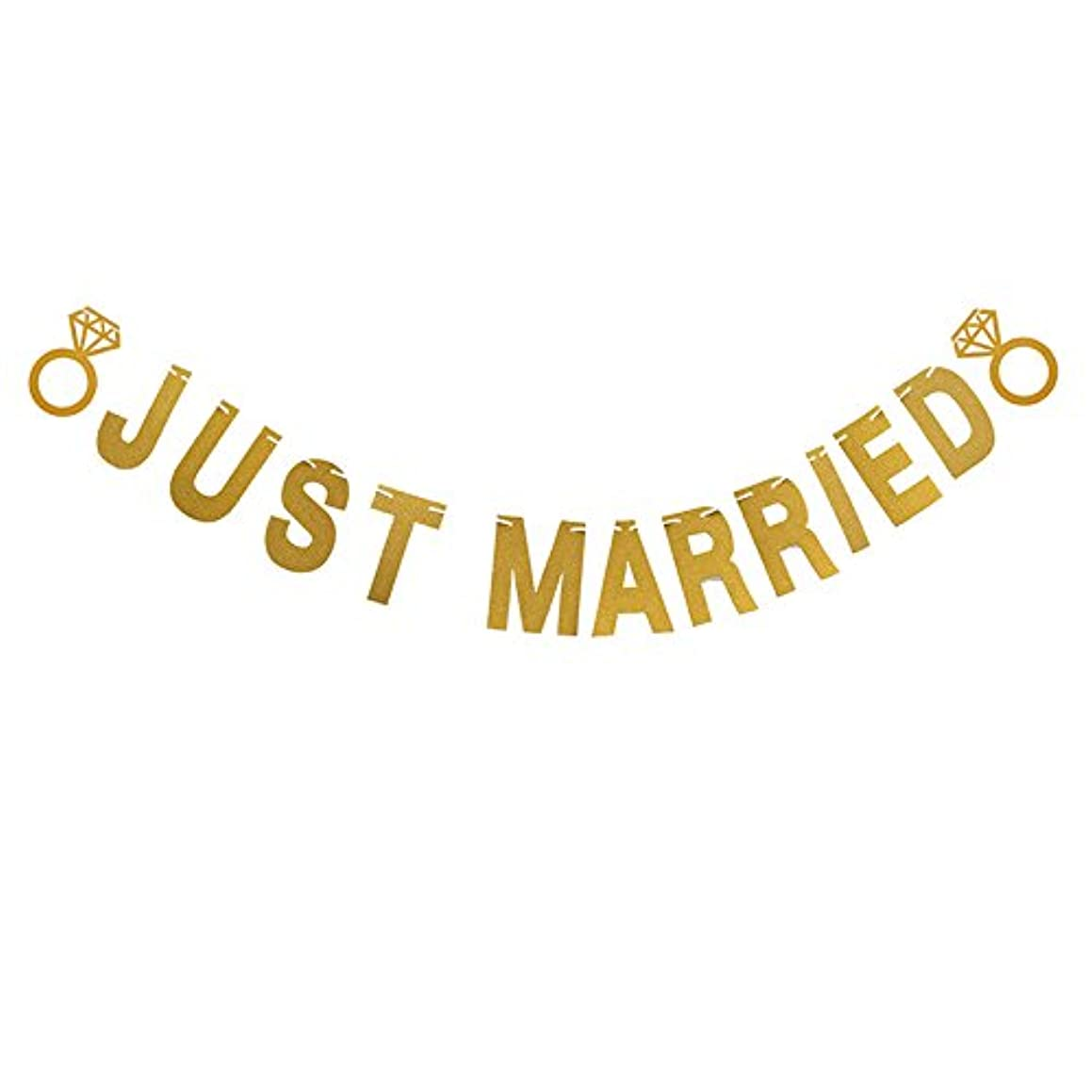 Just Married Wedding Banner, Glitter Letter Banner Hanging Pennant Party Banner Garland Photo Booth Props Decorations with 2 Diamond Pattern and String (Gold)