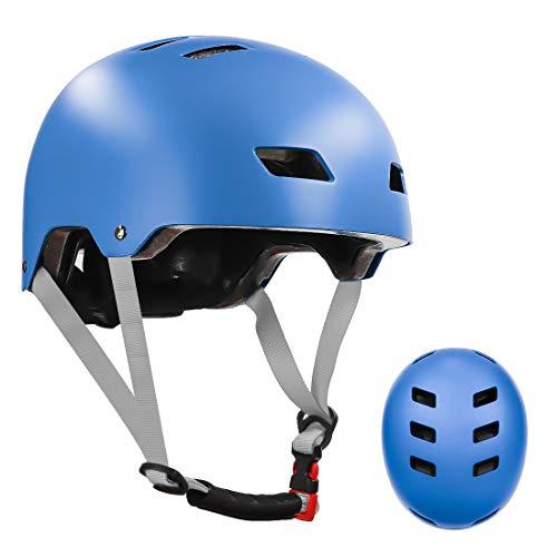 LANOVAGEAR Skaterhelm Fahrradhelm Kinderhelm Radhelm Sporthelm CE-Zertifizierung für Erwachsene, Jugendliche, Kinder für Fahrrad Skateboard Scooter (Blau, S)