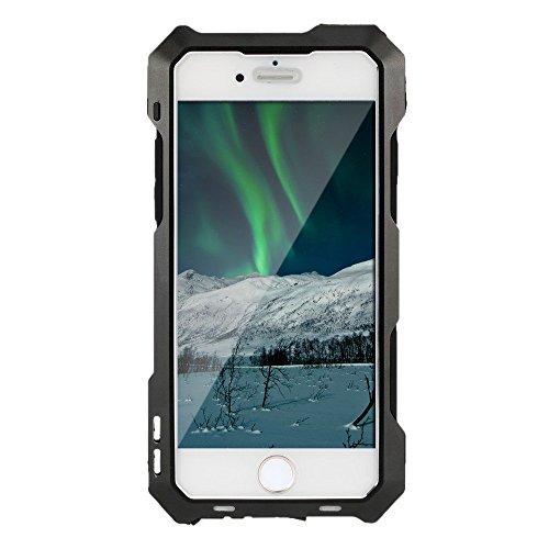 NIEUWE R-just 3 Layer Aluminium Beschermende Cellphone Hoesje Cover Gehard Glas Scherm met 198¡ãFisheye Lens Macro/Wide Lens voor iPhone 5/5S/SE - Zwart