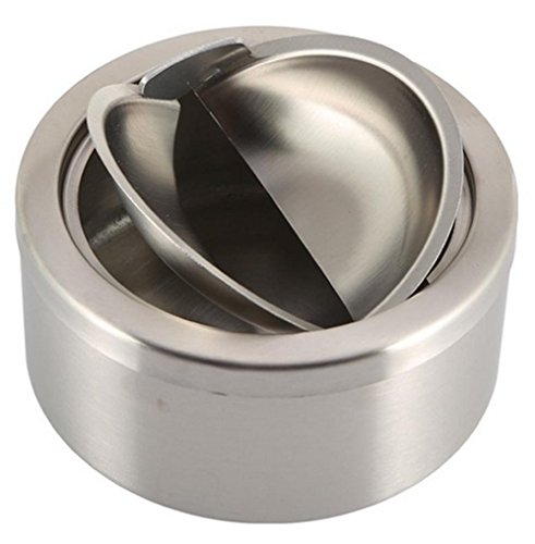 mkki 1pc Stainless Steel Cigarette Lidded Ashtray Silver Round Windproof Ashtray with Cover Portable Outdoor Accessories