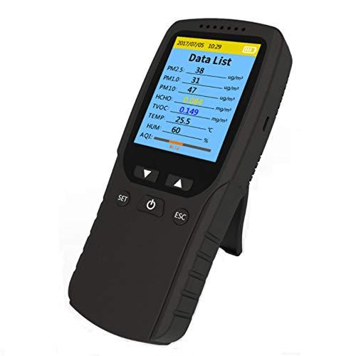 Monitor de calidad del aire interior detector de formaldehído medidor de temperatura humedad sensor de Probador Detecte PM2.5/PM10/PM1.0 contaminación polvo pruebe gas compuesto orgánico volát