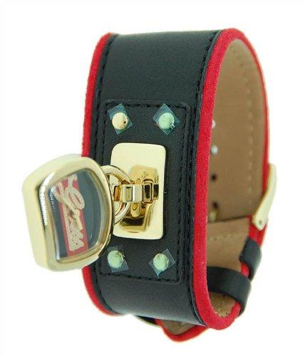 Guess W12620L1 - Reloj de pulsera para mujer (cuero negro con borde rojo)