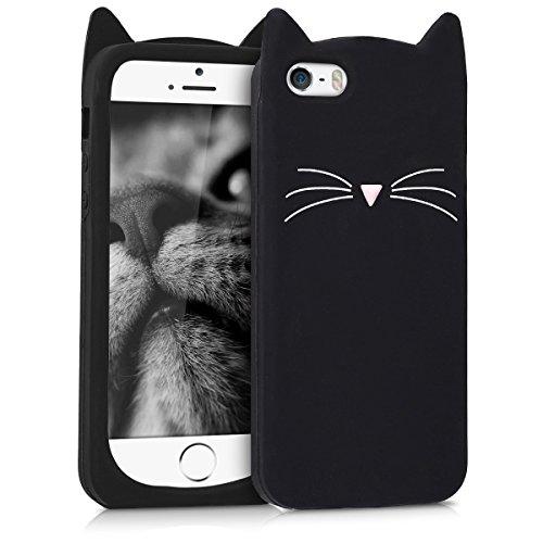 kwmobile Hülle kompatibel mit Apple iPhone SE (1.Gen 2016) / 5 / 5S - Handy Case Handyhülle - Silikon Cover Schutzhülle Katze Schwarz Weiß