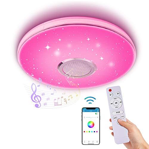 LED Deckenleuchte Dimmbar mit Bluetooth Lautsprecher,LACYIE 60W 3000-6500K RGB Deckenlampe mit Fernbedienung und APP-Steuerung IP44 LED Lampe für Badzimmer Schlafzimmer Kinderzimmer Wohnzimmer